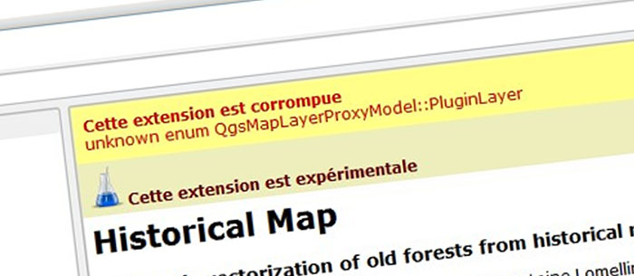 "How to get rid of ""unknown enum QgsMapLayerProxyModel::PluginLayer"" in Qgis ?"